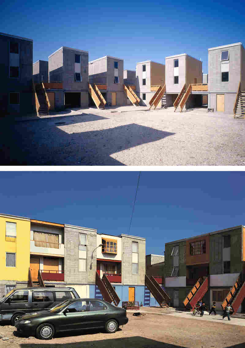 "Quinta Monroy Housing, Iquique, Chile, 2004: ""The challenge of this project was to accommodate 100 families living in a 30-year-old slum,"" Aravena says. ""We provided the families with the 'half a house' [top photo] that would be difficult for them to build for themselves and we gave them space to 'complete the house' as their means allowed [bottom photo]."""