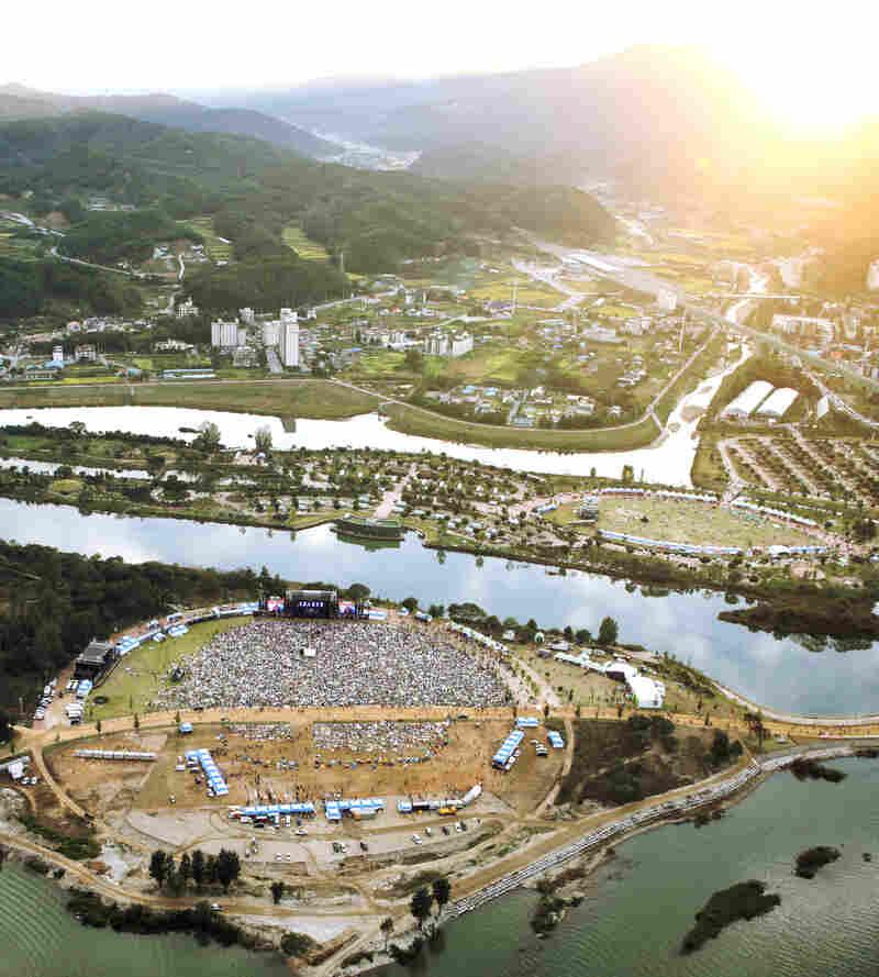 The Jarasum International Jazz Festival is set on river islands amid mountains.