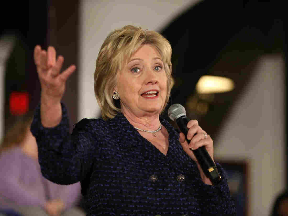 Democratic presidential candidate Hillary Clinton speaks during a campaign stop at the Electric Park Ballroom on Jan. 11 in Waterloo, Iowa.