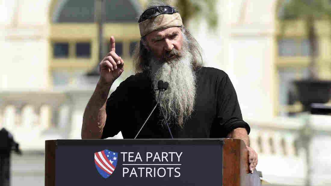 Duck Dynasty star Phil Robertson speaks during a rally opposing the Iran nuclear deal outside the Capitol. The Ted Cruz campaign announced Robertson's endorsement of the Texas senator Tuesday.