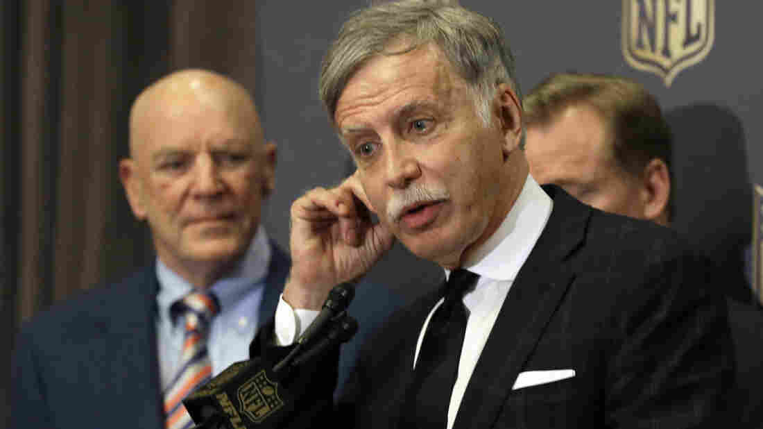 St. Louis Rams owner Stan Kroenke, seen here speaking to the media after NFL owners approved the Rams' move to a new stadium just outside Los Angeles, is the target of anger for many NFL fans in St. Louis today.