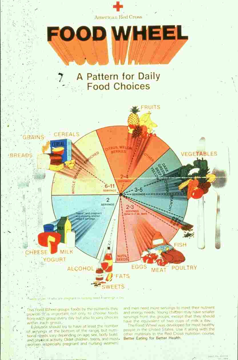 The Food Wheel: The Dietary Guidelines for America were first released in 1980. Its nutrition advice was visualized as a food wheel. The pyramid many of us grew up with came later.