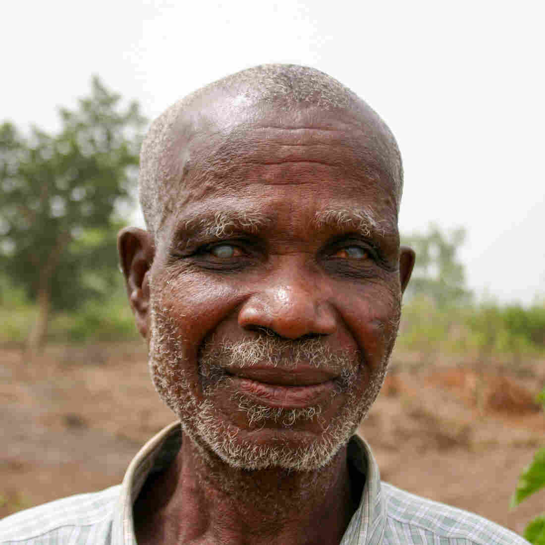 Emmanuel Kwame, 60, lost his sight to river blindness as a young man. He lives in Asubende, Ghana, earning a living as a farmer and fisherman.