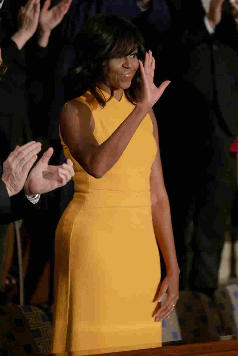First lady Michelle Obama's dress wowed audiences for President Obama's State of the Union speech Tuesday night.