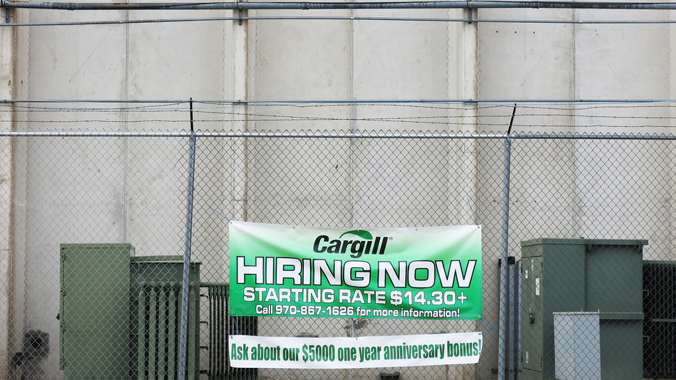 The Cargill beef processing plant in Fort Morgan, Colo., advertises openings in early January. Some 150 Muslim workers were fired in late 2015 after a dispute over prayer breaks at the plant.