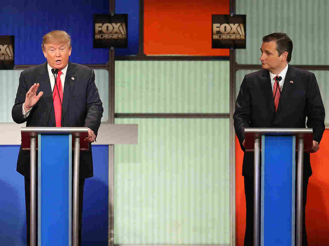 Republican presidential candidates Donald Trump and Sen. Ted Cruz clash during Thursday's Fox Business Network Republican presidential debate at the North Charleston Coliseum and Performing Arts Center in North Charleston, S.C.