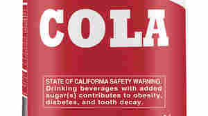 A mock-up of a warning label for sodas and sugary drinks proposed in California by public health advocates in 2015.