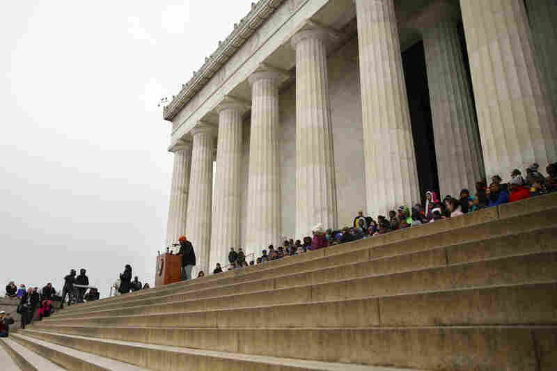 "Fifth-grade students recite Martin Luther King Jr.'s ""I Have A Dream"" speech on the steps of the Lincoln Memorial in Washington, D.C."