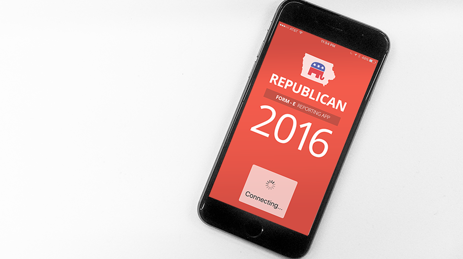 While the app itself is basic, it stands out in what will otherwise be a decidedly low-tech affair. Republicans often cast their ballots on slips of paper, and Democrats count their support for candidates by grouping together in corners at caucus sites. (Meg Kelly/NPR)