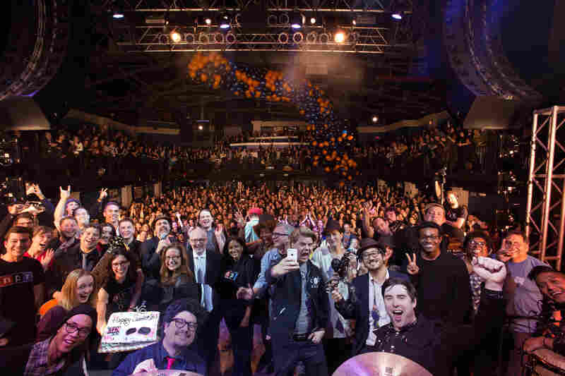 The All Songs Considered Sweet 16 party, at the 9:30 Club in Washington, D.C., ended with a group photo that featured the NPR Music team, a birthday cake and a balloon drop.