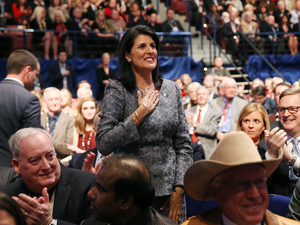 Gov. Nikki Haley, R-S.C. at Charleston, S.C., Republican presidential debate Thursday.