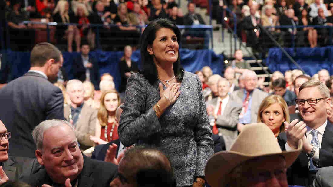 Gov. Nikki Haley, R-S.C. at Charleston, S.C., Republican presidential debate Thursday.