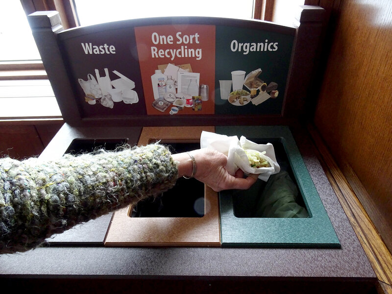 The compost/recycle system at Plymouth Congregational Church in Minneapolis, Minn. According to Creation Justice Ministries, it's just one example of the various projects churches have implemented to reduce waste. (Courtesy of Plymouth Congregational Church)
