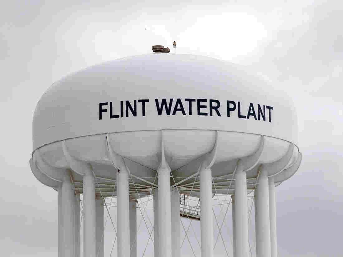 The water plant tower in Flint, Mich.