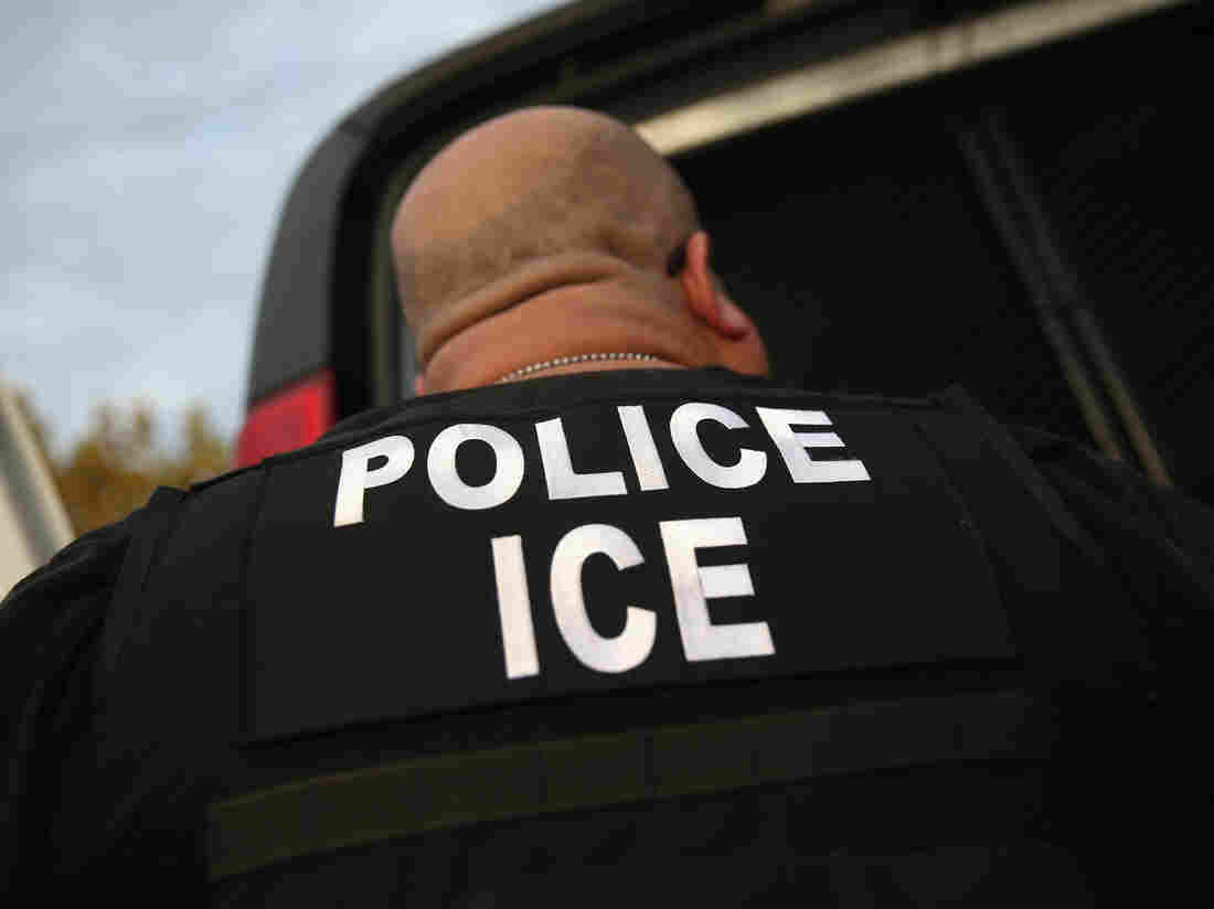 """A U.S. Immigration and Customs Enforcement agent detains an immigrant in October 2015. Though the Department of Homeland Security says it is looking for recent arrivals, criminals and people with deportation orders, that hasn't reassured immigrants like Giovanni. """"It's still scary,"""" he says."""