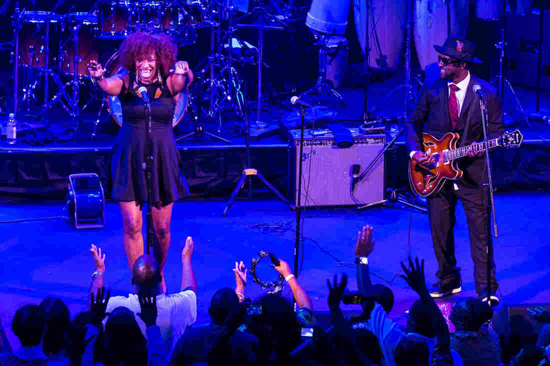 """Singer Michelle Blackwell is helping lead the effort to enfranchise teenagers in the nation's capital. She and guitarist Frank """"Scooby"""" Marshall of the The Chuck Brown All-Star Go-Go Band play a concert at Washington, D.C.'s Howard Theatre."""