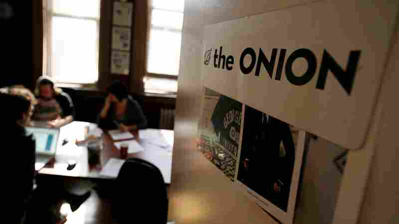 Editors and writers with The Onion work on elections copy in October 2008 during a drafts meeting at the website's offices, then in New York.