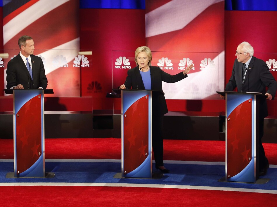 Former Maryland Gov. Martin O'Malley, Sen. Bernie Sanders, I-Vt. and Hillary Clinton at the NBC News-YouTube Democratic presidential debate at the Gaillard Center on Sunday in Charleston, S.C.