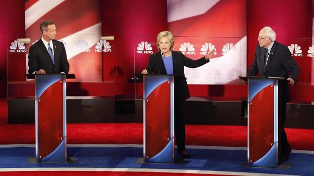 Former Maryland Gov. Martin O'Malley, Sen. Bernie Sanders, I-Vt. and Hillary Clinton at the NBC News-YouTube Democratic presidential debate at the Gaillard Center on Sunday in Charleston, S.C. (AP)