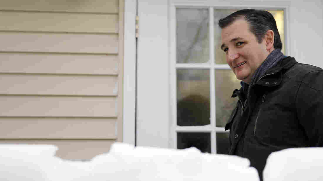 Republican presidential candidate Sen. Ted Cruz, R-Texas, departs a campaign stop in Washington, N.H., on Monday.