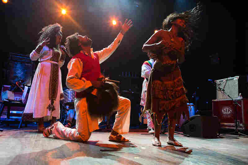 Fendika is a traditional Ethiopian dance-and music troupe led by Melaku Belay (center), performing during globalFEST at New York City's Webster Hall on Jan. 17, 2016.