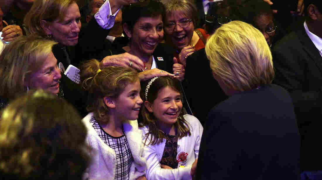 Hillary Clinton greets supporters, including 10-year-old Zoey Verbesey (left) and her friend Catherine Dooley during a 'Women for Hillary' fundraiser in November.