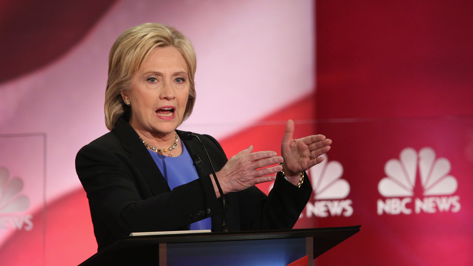 In the final Democratic debate before the Iowa caucuses, candidate Hillary Clinton and her fellow Democratic candidates took on a more aggressive tone Sunday night in Charleston, S.C. (Getty Images)