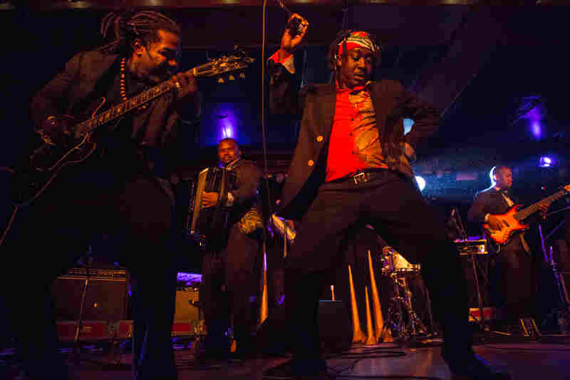 Haiti's Lakou Mizik, who performed during globalFEST at New York City's Webster Hall on Jan. 17, 2016, is a multi-generational big-band mixing the island's vodou traditions with communal dance grooves.