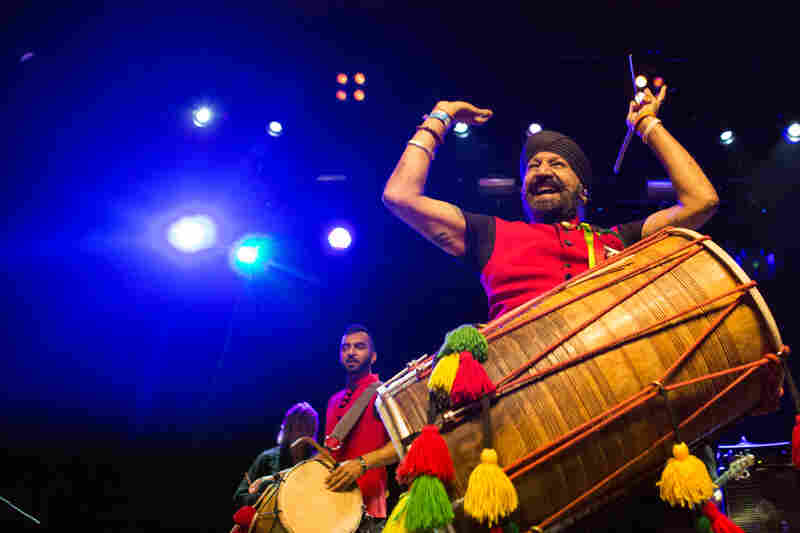 London's troupe of bhangra drummers, The Dhol Foundation, performs during globalFEST at New York City's Webster Hall on Jan. 17, 2016.
