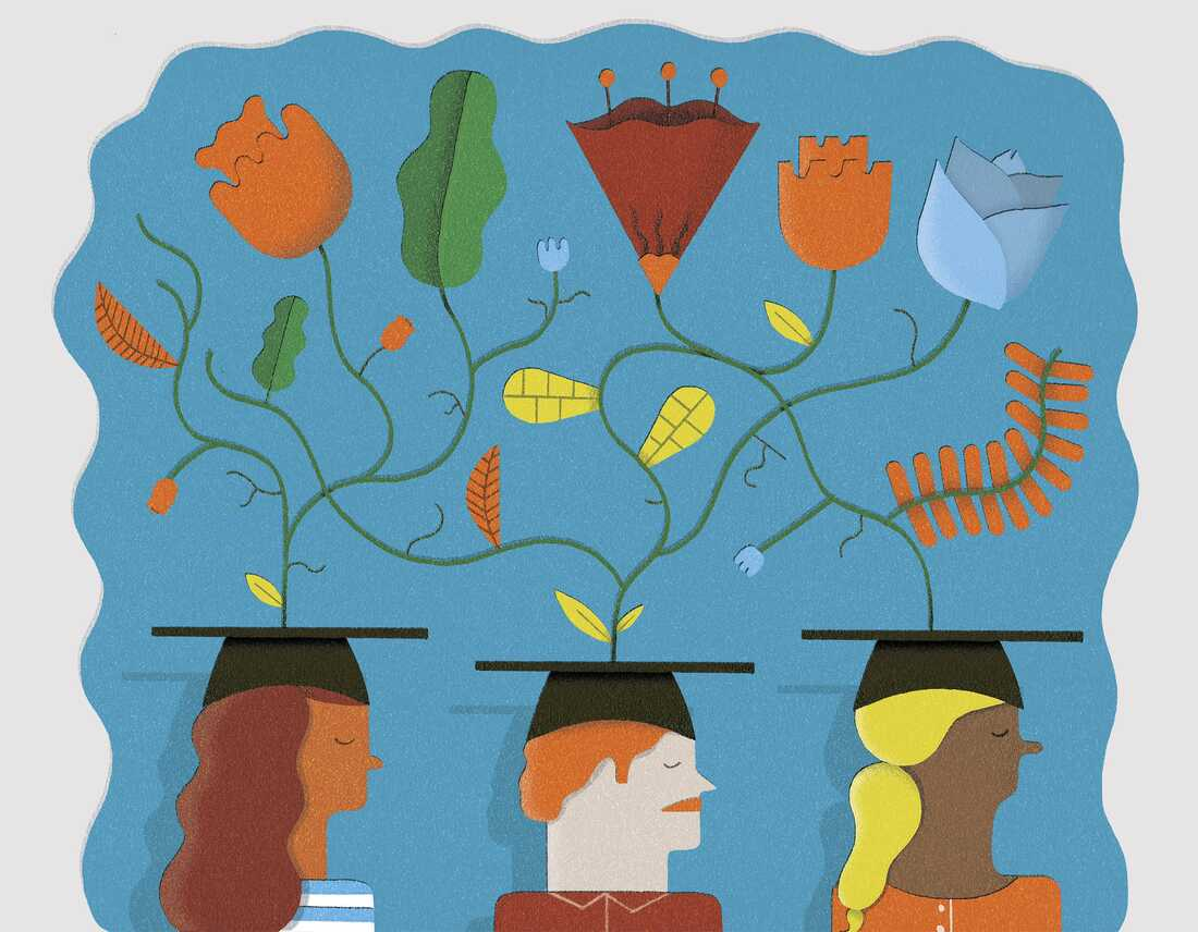 Plants growing from students wearing mortarboards