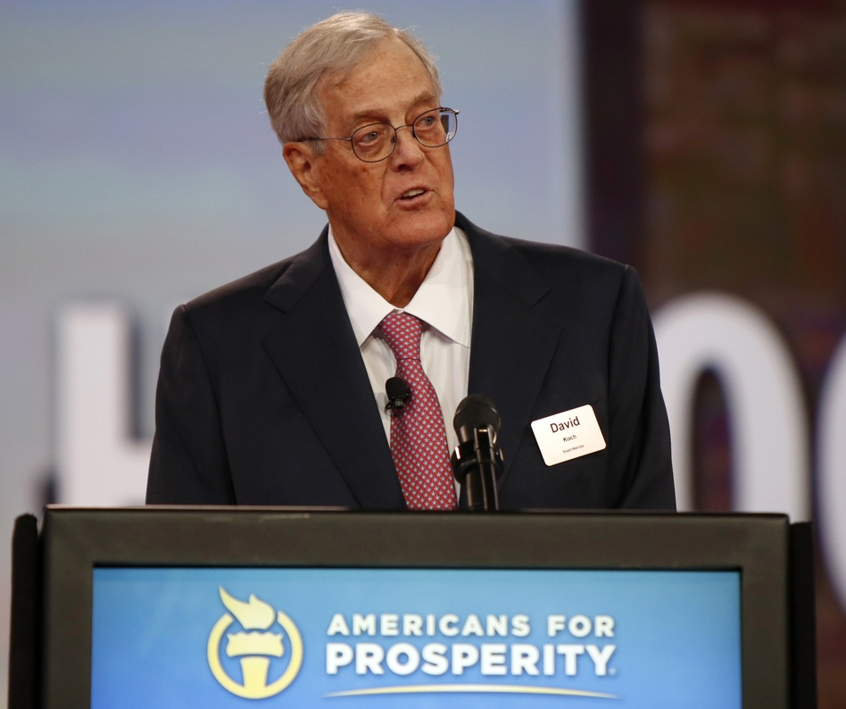 David Koch speaks at the Defending the American Dream summit in 2015. He and his brother Charles lead a conservative political network that plans to spend hundreds of millions of dollars on the 2016 elections.