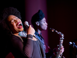 Charenee Wade led a band featuring saxophonist Lakecia Benjamin in a program featuring the music of Gil Scott-Heron (and his collaborator, Brian Jackson).