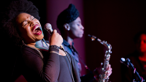 Charenee Wade led a band featuring saxophonist Lakecia Benjamin in a program featuring the music of Gil Scott-Heron (and his collaborator, Brian Jackson). (John Rogers for NPR)