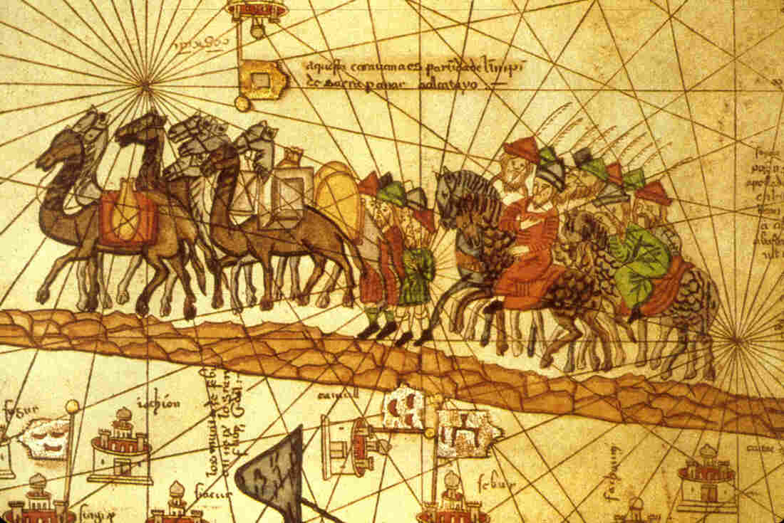 An illustrated map depicts the journey of the Venetian merchant Marco Polo (1254-1324) along the Silk Road to China. The caravans of tea, spice and silk passing through also carried a weightless but imperishable cargo to foreign shores: Persian culture.