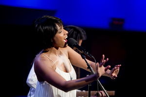 Accompanied only by guitarist Brandon Ross, vocalist Alicia Hall Moran sang in a territory between operatic lieder and spirituals.