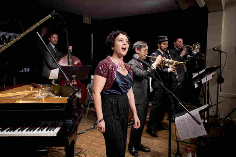 A traditional jazz stage at the Greenwich House Music School saw vocalist Tamar Korn featured with trumpeter Gordon Au's Grand St. Stompers.