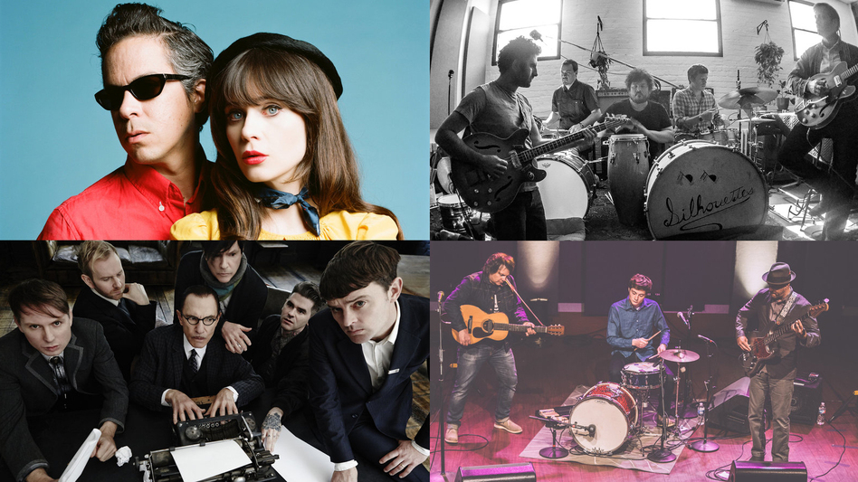 Clockwise from top left: She & Him (photo: Autumn de Wilde), The Arcs (photo: Richard Swift), Tweedy (photo: Chris Sikich/XPN), FFS (photo: David Edwards). (Courtesy of the artists)