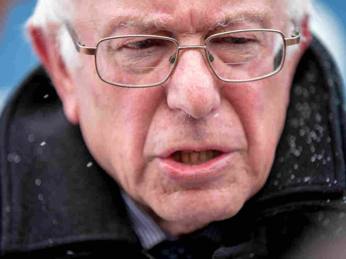 Democratic presidential candidate Sen. Bernie Sanders speaks to the media as he leaves a town hall Tuesday in Carroll, Iowa.