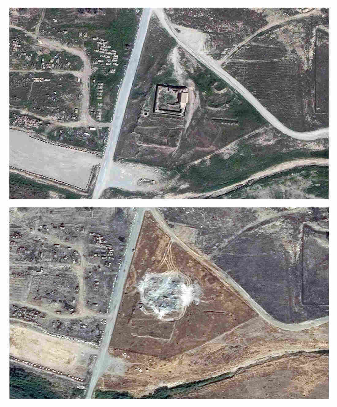 This combination of two satellite images provided by DigitalGlobe, taken on March 31, 2011 (top), and Sept. 28, 2014, shows the site of the Christian monastery known as St. Elijah's, or Dair Mar Elia.