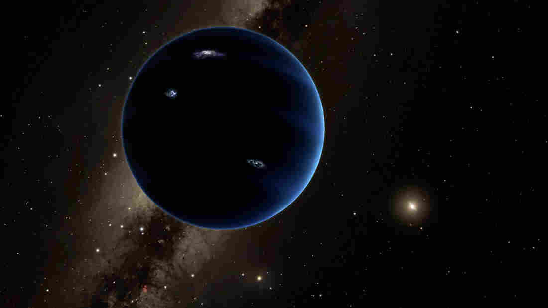 """The imagined view from """"planet nine"""" back toward the sun. Astronomers think the huge, distant planet is likely gaseous, similar to Uranus and Neptune."""