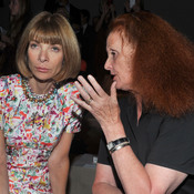 Grace Coddington and Vogue editor in chief Anna Wintour at a 2013 Donna Karan New York show.