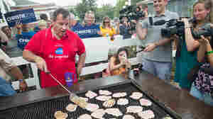Thanks to the current nomination calendar, U.S. presidential candidates (like Chris Christie, pictured at the 2015 Iowa State Fair) get lots of practice at flipping pork chops.
