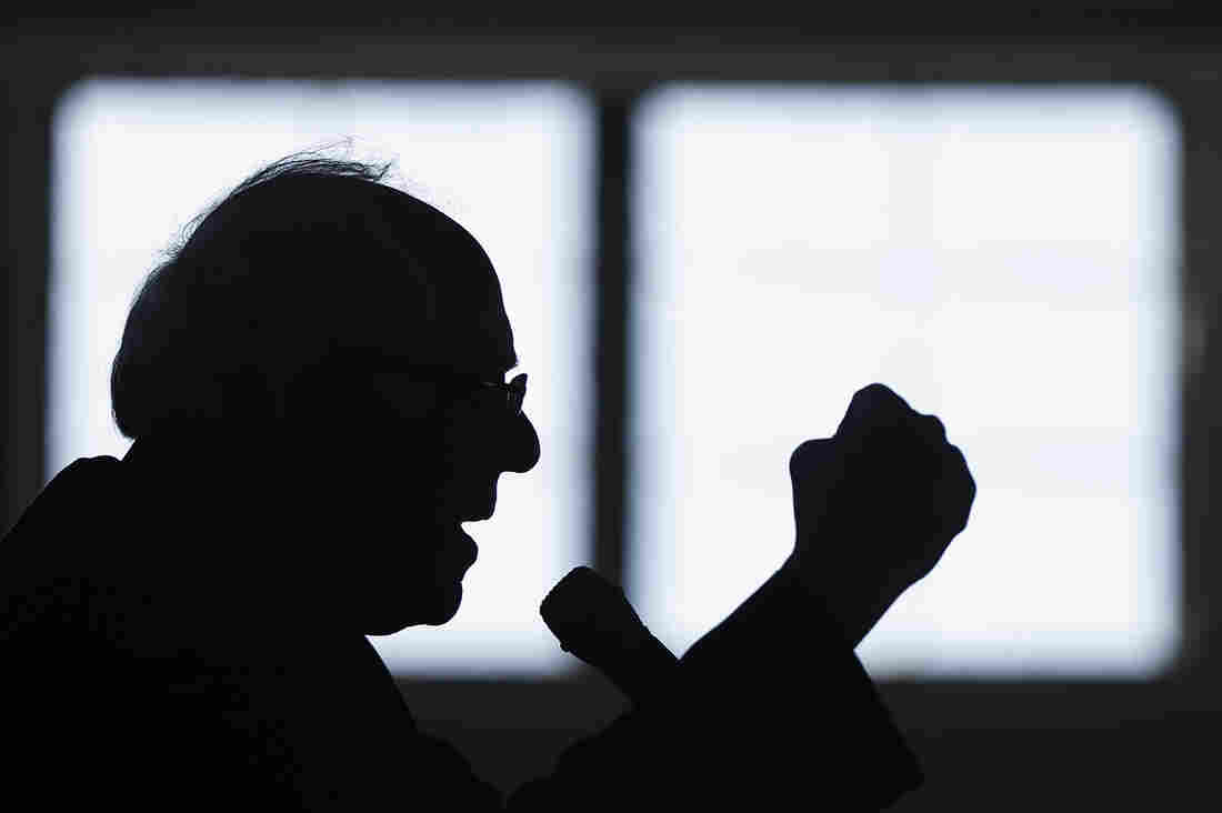 Democratic presidential candidate, Sen. Bernie Sanders, I-Vt. gestures as he speaks during a campaign stop, in Peterborough, N.H. A Twitter account parodying the Sen. is loved by conservatives and liberals alike.