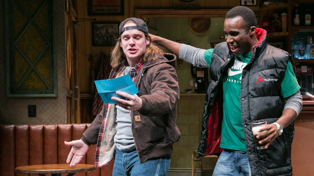 """In Lynn Nottage's play Sweat,  Jason (Stephen Michael Spencer, left) and Chris (Tramell Tillman) are workers at a steel tubing plant in Reading, Pa. Nottage says she wanted to write about """"how poverty and economic stagnation were shifting the American narrative."""" (Arena Stage)"""