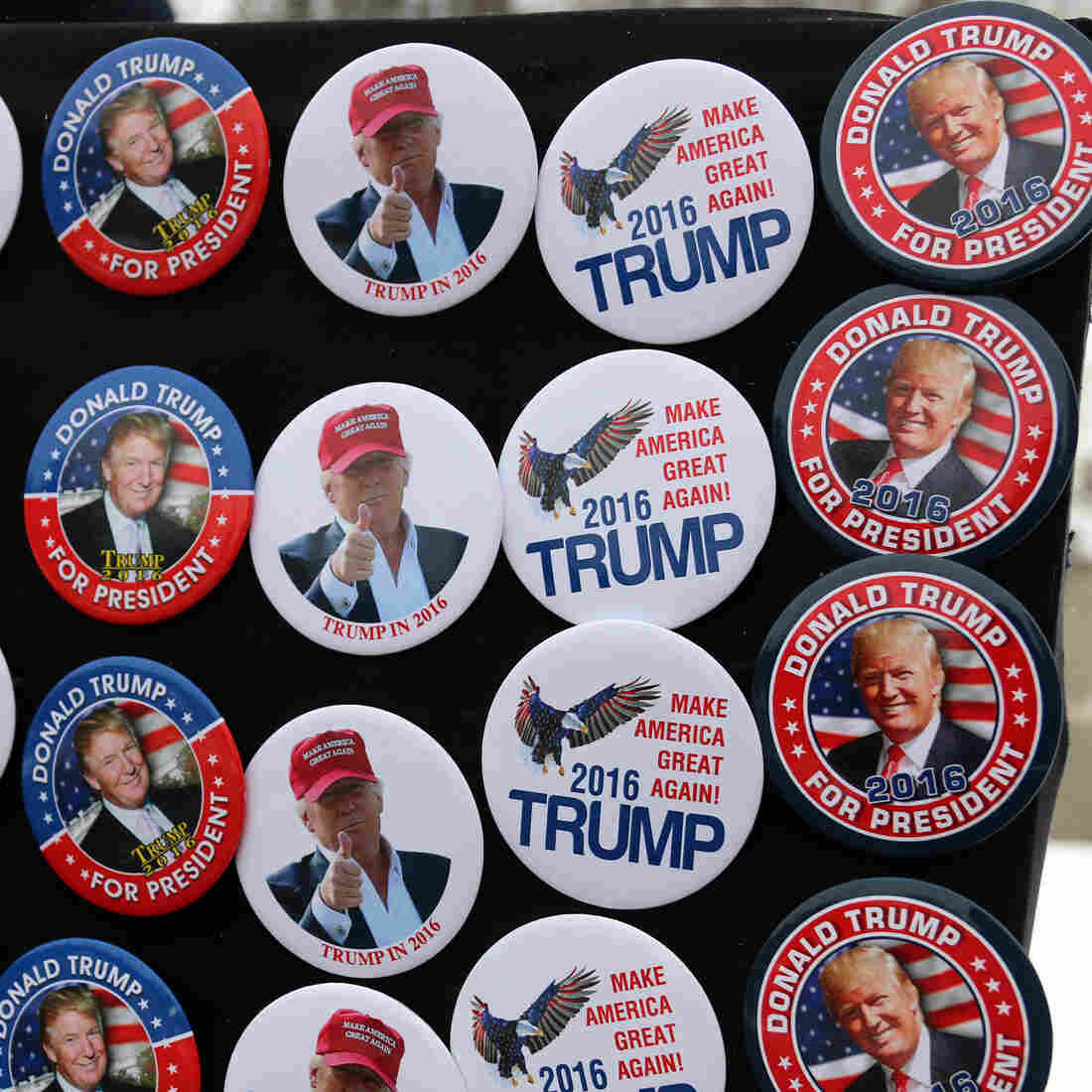 Donald Trump has broken all of the rules of campaigning in New Hampshire but still leads the polls there. A vendor sells Trump buttons at a rally in Concord this month.