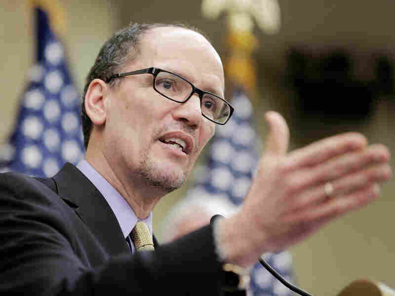"Secretary of Labor Thomas Perez speaks at the U.S. Capitol during a stop on the ""Give America a Raise"" bus tour, April 3, 2014."