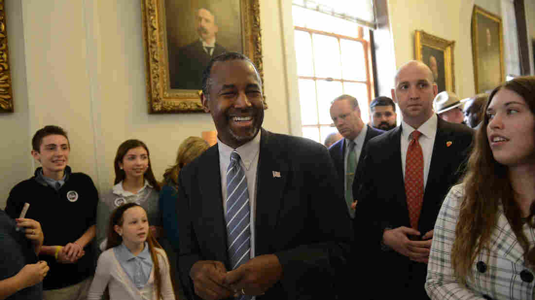 Ben Carson leaves the State House in Concord, N.H., after filing GOP primary paperwork in November.