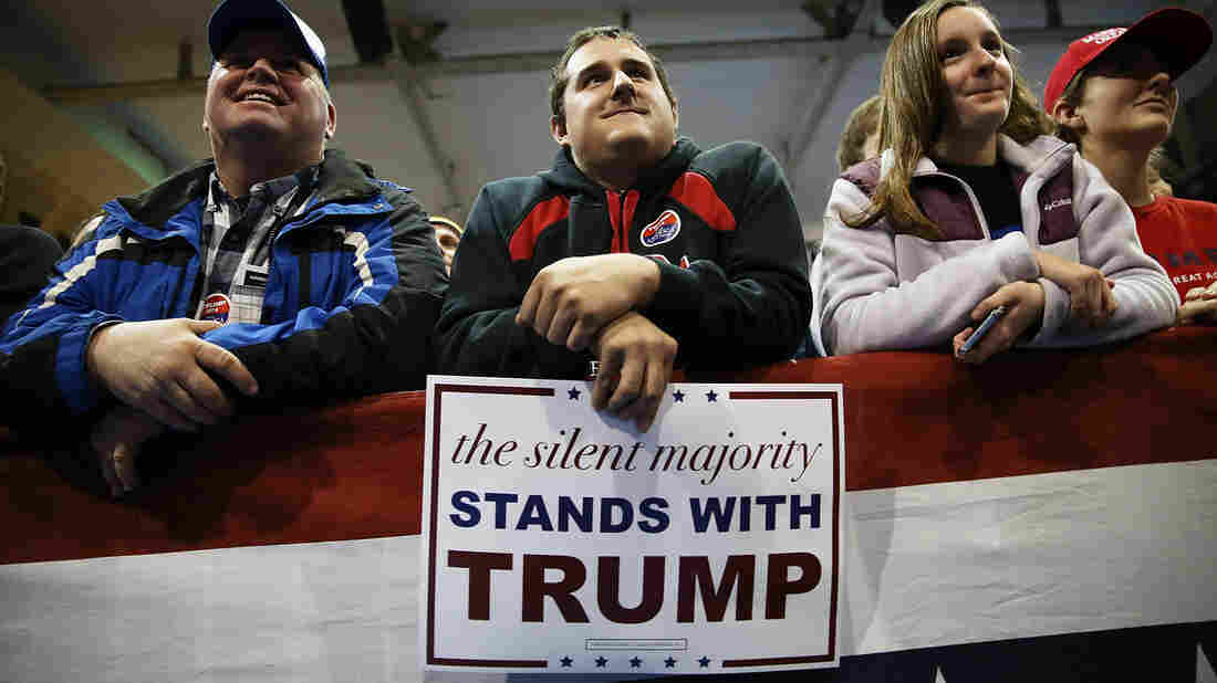 "At Donald Trump rallies, like this one in Cedar Falls, Iowa, on Jan. 12, his campaign distributes signs heralding support from the ""silent majority."""