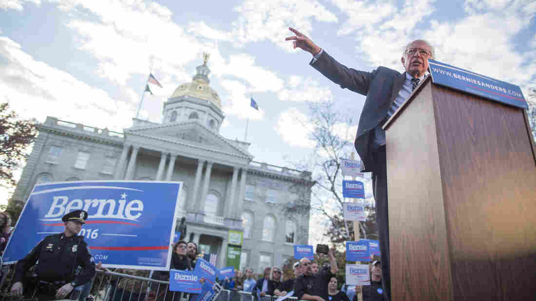"Democratic presidential candidate Bernie Sanders, shown here at a rally last November in Concord, N.H. ""Why people are so angry is, they're working harder and harder [and] many of them are slipping into poverty. Everyone is worried about the future of their kids,"" he said this week."