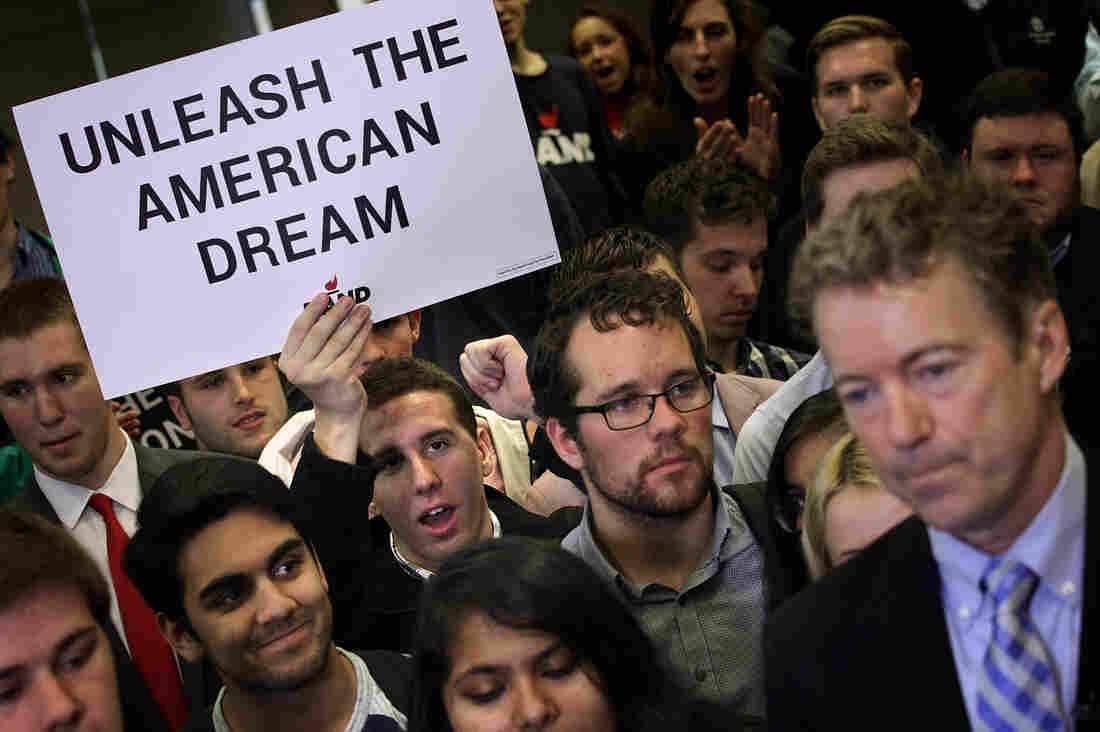 Rand Paul poses with students at George Washington University in Washington, D.C.